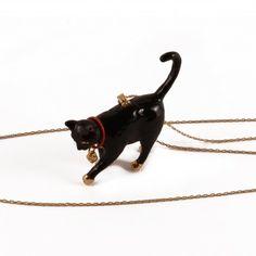 Sautoir chat noir - Les Néréides - N2