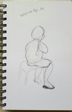 Little girl waiting. Was eating a snack when I decided to do some urban-sketching. Black ballpoint.