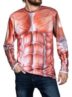 Anatomy Print Front & Back Polyester Easy Costume Great for Working Out Show Off Your Inner Muscles Costume Shirts, Easy Costumes, Human Anatomy, Wordpress, Winter Jackets, Workout, Muscles, Long Sleeve, Sleeves
