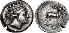A Rare Greek Silver Drachm of Chersonesos (Tauric Chersonesos), a Fine Depiction of Artemis Parthenos c 1100 BC