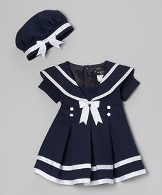 Another great find on #zulily! Navy Blue & White Sailor Dress & Beret - Infant, Toddler & Girls by Fouger for Kids #zulilyfinds
