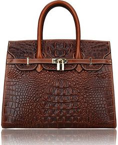 Pijushi Classic Embossed Crocodile Purse Genuine Leather Office Ladies Handbags Satchel Padlock Tote Bag 22130 (Big Size, Light Coffee) - http://leather-handbags-shop.com/pijushi-classic-embossed-crocodile-purse-genuine-leather-office-ladies-handbags-satchel-padlock-tote-bag-22130-big-size-light-coffee/