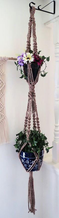 "Double macrame hanging planter, 2 tier, POTTERY, 55"", plant holder, pot holder, pot hanger, neutral, gift for her, bohemian, hippie, large"