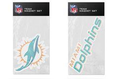 Miami Dolphins NFL Football 2 Piece Team Magnet Set
