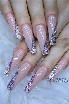 Light Pink Acrylic Nails, Classy Acrylic Nails, Purple Nail Art, Bling Acrylic Nails, Cute Acrylic Nail Designs, Best Acrylic Nails, Fancy Nails, Pretty Nails, Nail Art Designs Videos