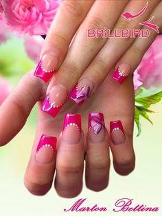french - pink - bows - nail art