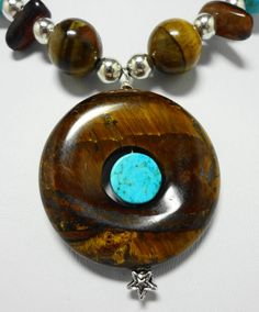 Choker Necklace Made with Golden Tiger's Eye, Red Tiger's Eye, Turquoise Gemstones and Metal Beads 17 3/4 Inches