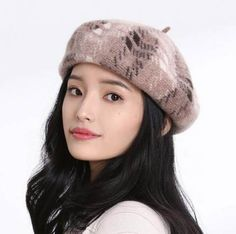 Fashion removable hairball beret hat for girls wool winter hats french berets