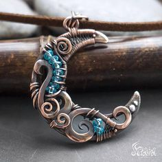 Crescent moon pendant // Copper crescent moon wire wrapped