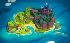 Old stuff on Behance Prop Design, Game Design, Cartoon Island, Tree Watercolor Painting, Isometric Design, Game Concept Art, Fantasy Map, Visual Development, Fantasy Inspiration