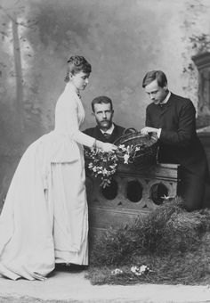 Grand Duchess Elizabeth Feodorovna her husband Grand Duke Sergeï Alexandrovitch and her brother Ernest Louis later Grand Duke of Hesse and by Rhine - 1885