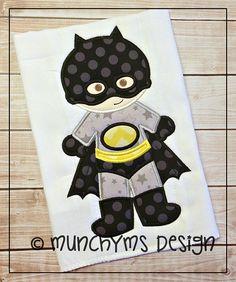 Bat Boy Super Hero Applique by MunchkymsDesign on Etsy, $2.00