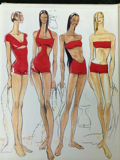 Anne Klein Swimwear Sketches from 1993 I did while working at Anne Klein Design Studio