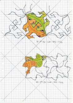 MC Escher nr 35 #escher #handmade #symmetry #geometry #pattern #tessellation #watercolor #aquarelle #reptiles #mauritiuscorneliusescher #myinterpretation