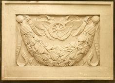 Relief sculpture (or model) for Penn Station, by Adolph A. Weinman.  Photograph by De W.C. Ward, PR 042, McKim, Mead and White Architectural Record Collection.  NYHS Image #82050d.