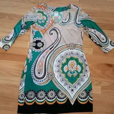 HP Ali Ro Dress Colorful patterned Ali Ro shift dress with 5% spandex.  Unbelievably comfortable, worn maybe 2 times.  I am 5'2 and it hits above the knee. Very small pen mark seen in pic 4. Ali Ro Dresses