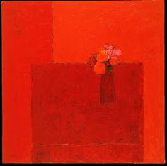 Bernard Cathelin, Nature morte rouge au vase rouge et bouquet rouge ⋅ 2002 — 150 × 150 cm