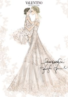 Sketch of Frida Giannini's Valentino wedding dress and her daughter Greta's custom Valentino look by Maria Grazia Chiuri and Pierpaolo Piccioli
