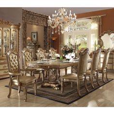 Acme Furniture Vendome Gold 9 Piece Double Pedestal Dining Table Set    ACM1397 1