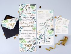 Hand Lettered & Illustrated Winter Foliage Wedding Invitations by Hollyhock Lane / Oh So Beautiful Paper