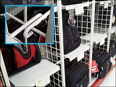 These struts help create shelves between partitions of standard Grid. Dividers, The Struts, Bridges, Baby Car Seats, Grid, Hooks, Cube, Retail, Shelves