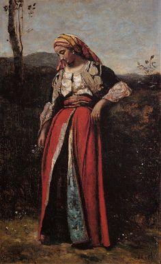 """Pensive Oriental""  by Jean-Baptiste-Camille Corot  (1870)"