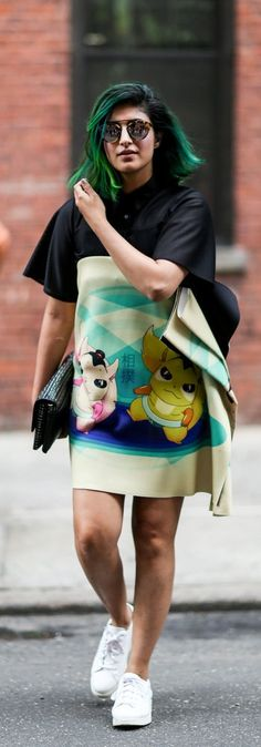 How adorable is this cartoon-print dress?