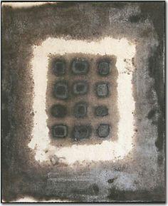Microcosmo nero  2009 Stele cm36x48  Ceramica-Mix di terre raccolte in toscana e refrattari.  Cottura effettuata a cielo aperto By Giovanni Maffucci