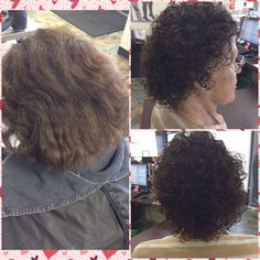 Cute perm using a straight back method and pink rods as well as white. Styling products used is #kera care styling spritz and Sebastian potion 9 leave in