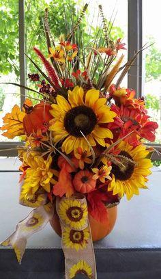 Pumpkin Autumn Floral Arrangement Table Centrpiece Fall Thanksgiving Autume Pumpkin Medium Size by SouthTXCreations on Etsy