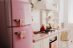 One day I shall have a lovely pale pink Smeg fridge in my little kitchen!  (Or pretty green, pale blue or perhaps even red!)