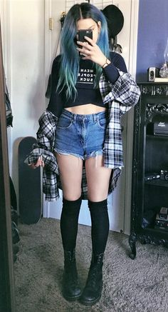 Long sleeve graphic crop top with flannel shirt, denim shorts, long black socks & combat boots by athousandchapters