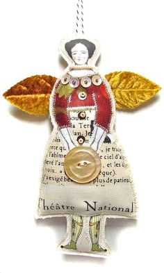 Button Fairy A Tiny Textile Art Doll Ornament by theresahutnick, $14.00