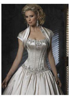 Cream Strapless Wedding Dress with Bolero