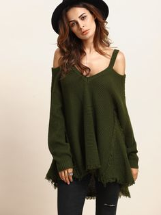 Army Green Cold Shoulder Long Sleeve Knitted T-shirt