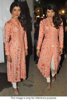 Bollywood Style Priyanka Chopra 60 GM Georgette and Tasar Suit In Peach Colour NC1301