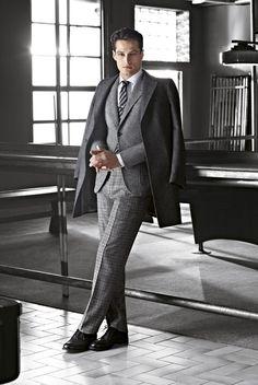 Patrick Rukai men's fashion, grey jacket, slacks & overcoat