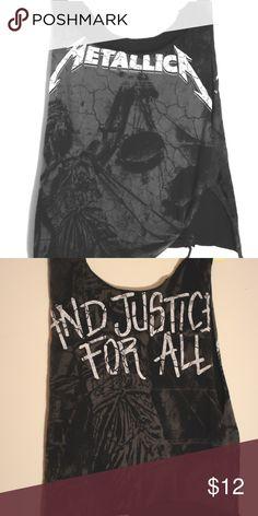 Metallica - Distressed Band T-Shirt DIY CUTUP BAND TSHIRT 🖤 Tops Tees - Short Sleeve
