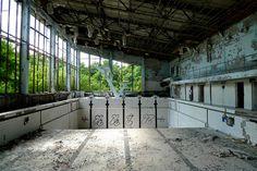 "Empty swimming pool ""Lazurnyj"" in Pripjat."