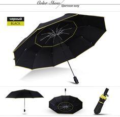 e66db32690266 120CM Fully-Automatic Double Big Umbrella Rain Women 3Folding Wind Resistant  Large Umbrella Men Travel Business Car Umbrellas