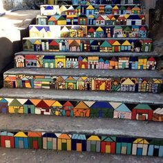 House mosaics on stairs create streets!