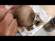 Painting hair and eyebrows tutorial by Sweet Potato Pie nursery Diy Reborn Dolls, Bb Reborn, Reborn Babies, Ooak Dolls, Art Dolls, Baby Painting, Doll Painting, Baby Doll Hair, Mini Bebidas