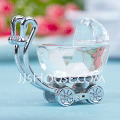 Baby Shower Favours - Baby Carriage Zinc Alloy Crystal Keepsake (051024921) * So Cute!
