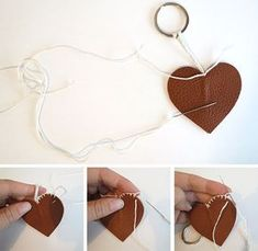 24 Ideas For Crochet Heart Keychain Key Fobs Leather Keychain, Leather Earrings, Leather Jewelry, Leather Art, Leather Gifts, Crea Cuir, Leather Scraps, Heart Keyring, Leather Pattern