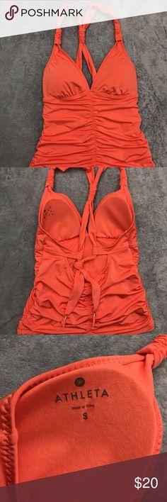 Athleta Peach Tankini Item: ATHLETA Women's Small Peach Tankini Swimsuit #984289 Size: Small       Base Color:  Peach Fabric: 74% Nylon, 26% Spandex Please look at photos for better description Athleta Swim