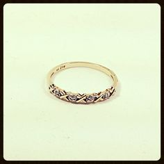 Vintage 10Kt Gold and Diamond Band, Wedding Band, Stacker Ring, X's and O's Size 8. $150.00, via Etsy.