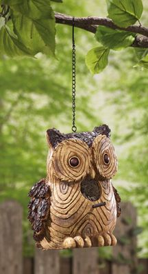 Rustic Owl Birdhouse - looks like wood but carved from resin.  Great for a Northwoods theme!