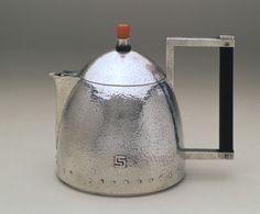 Arts & Craft  period modern style solid silver teapot with carnelian finial - by Josef Hoffmann, Czech-Austrian, c1903 (Minneapolis Institute of Arts)
