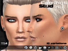 The Sims Resource: Stud Earrings n1  by Pinkzombiecupcake • Sims 4 Downloads