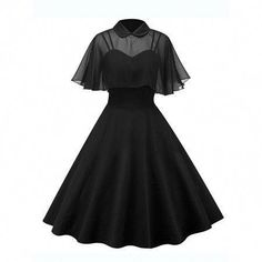 Clothing Womens Vintage Rockabilly Pinup Strap Flare Swing Evening Formal Party Dress with Cloak Ladies Retro Prom Dresses Goth Outfit, Goth Dress, Retro Prom Dress, Vintage Homecoming Dresses, Swing Dress 50s, Pretty Dresses, Beautiful Dresses, Kleidung Design, Moda Vintage